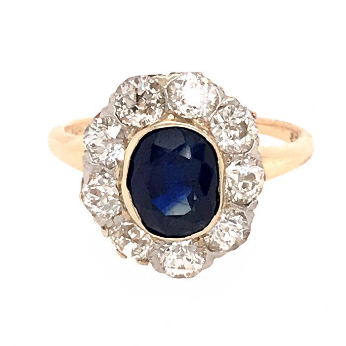 14k Yellow Gold Old Mine Cut Diamond Cluster Sapphire Ring