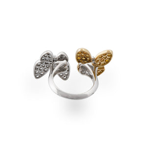 Van Cleef & Arpels 18K Yellow and White Gold Sapphire and Diamond Double Butterflies Ring Size: 5.75 - 6