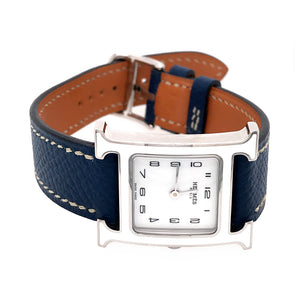 Hermes H Hour White Dial and Blue Leather Ladies Watch