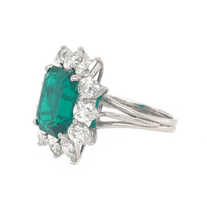 AGL Certified Natural Emerald and Diamond Cluster Ring