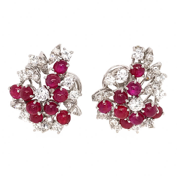 Ruby and Diamond Earrings 18k White Gold