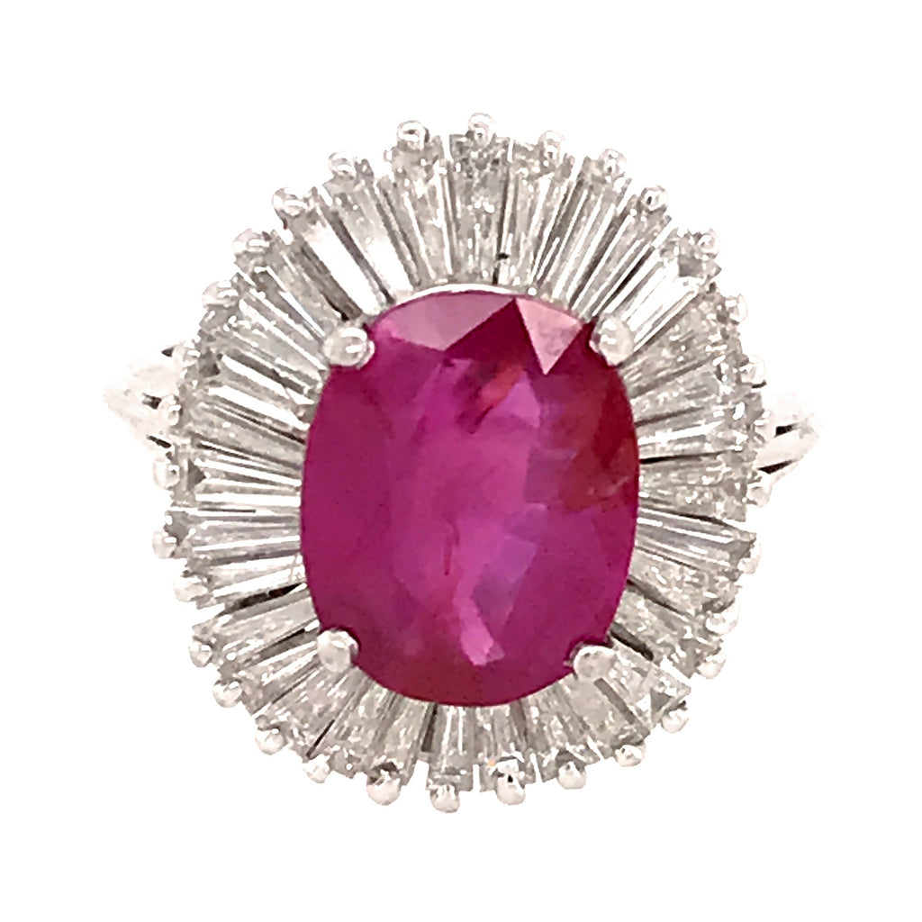 AGL Certified Natural Ruby and Diamond Ballerina Style Ring