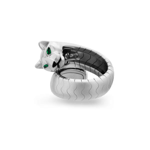Cartier 18K White Gold Emerald Eyes Panthere de Cartier Ring Size: 6
