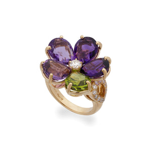 Bvlgari 18K Yellow Gold Mediterranean Eden Amethyst, Peridot, Diamond Flower Ring Size 5.25