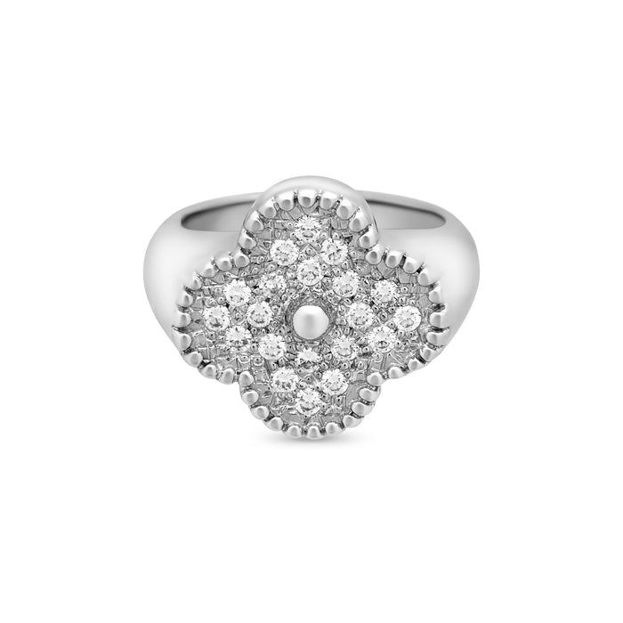 "Van Cleef & Arpels 18K White Gold Diamond ""Alhambra Ring Size: 5.25"
