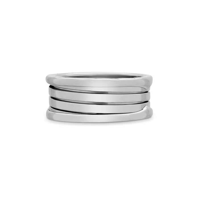 Bvlgari 18K White Gold B.Zero1 4 Band Ring Size 10.75