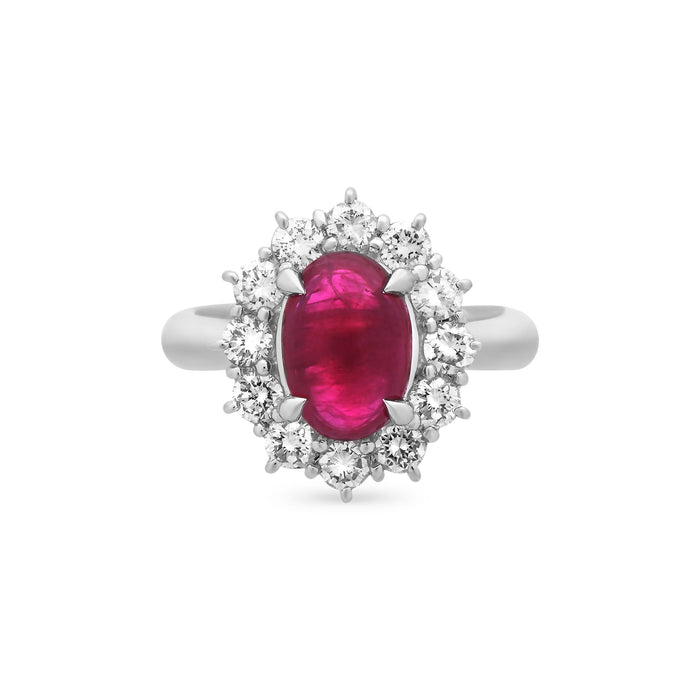 Estate Platinum Diamond & Ruby Ring Size: 5