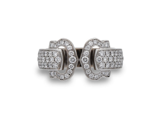 "Cartier 18K White Gold Diamond ""Double C"" Ring Size: 5.25"