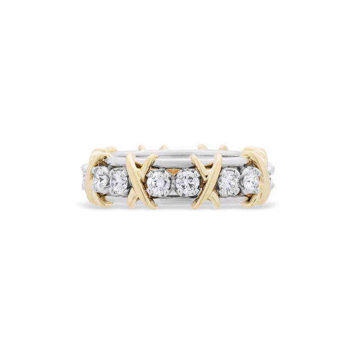 Tiffany & Co. Platinum and 18k Yellow Gold Diamond Schlumberger Eternity Ring