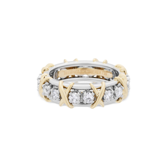 "Tiffany & Co. 18K Yellow Gold & Platinum Diamond ""Schlumberger"" Eternity Ring Size: 6.5"