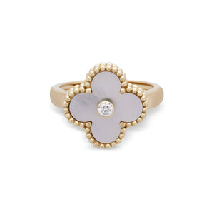 "Van Cleef & Arpels 18K Yellow Gold Mother of Pearl and Diamond ""Vintage Alhambra"" Ring Size: 6"