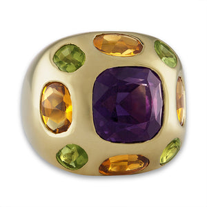 Chanel 18K Yellow Gold Amethyst, Citrine and Peridot Ring Size: 3.5