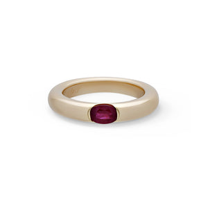"Cartier 18K Yellow Gold Ruby ""Ellipse"" Ring Size: 6.5"