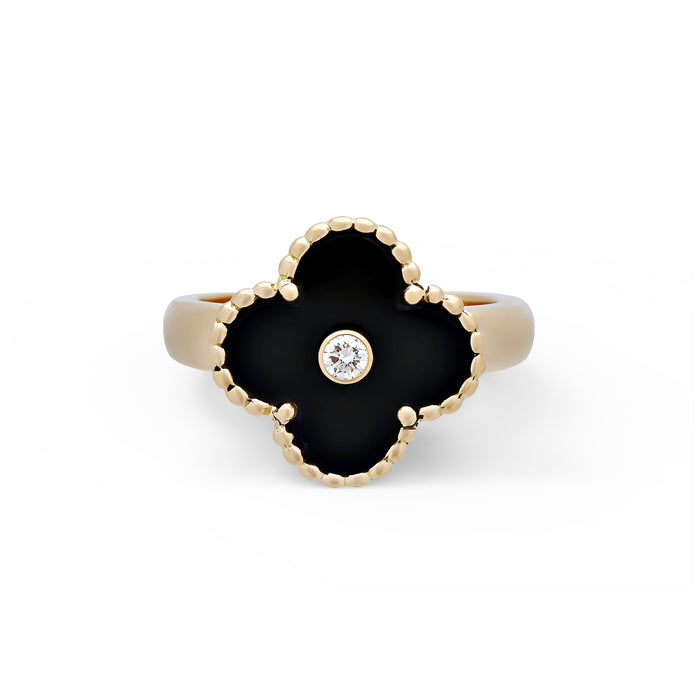 "Van Cleef & Arpels 18K Yellow Gold Onyx & Diamond ""Vintage Alhambra"" Ring Size: 6"