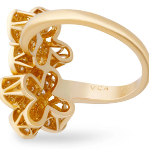 Van Cleef & Arpels 18K Yellow Gold Diamond Double Trefle Flower Ring Size: 6.25