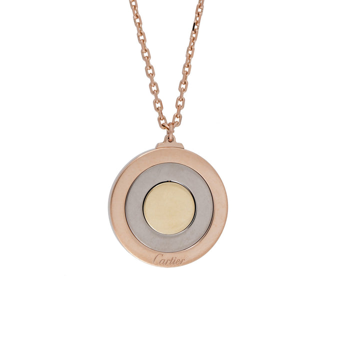 Cartier 18K Yellow, Rose, and White Gold Movable Triple Disc Pendant Necklace Length: 16.5""