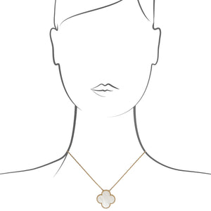 "Van Cleef & Arpels 18K Yellow Gold Mother or Pearl ""Alhambra"" Necklace Length: 16"""