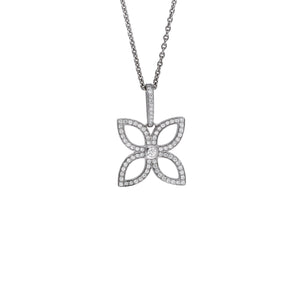 Louis Vuitton 18K White Gold Diamond Flower Necklace Length: 16.5""