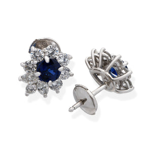 "Tiffany & Co. Platinum Blue Sapphire and Diamond ""Victoria"" Earrings"