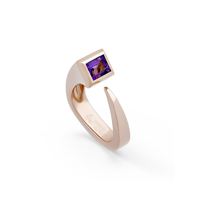 Hermes 18K Rose Gold Purple Amethyst Ring
