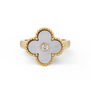 Van Cleef and Arpels Vintage Alhambra Mother of Pearl and Diamond Ring