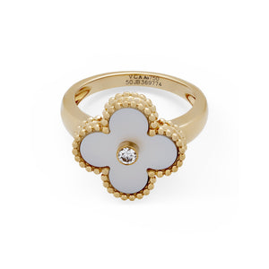 Van Cleef & Arpels 18K Yellow Gold Diamond and Mother of Pearl Vintage Alhambra Ring Size: 5.25