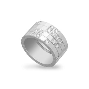 Cartier 18K White Gold Diamond Lanieres Ring Size: 9.5