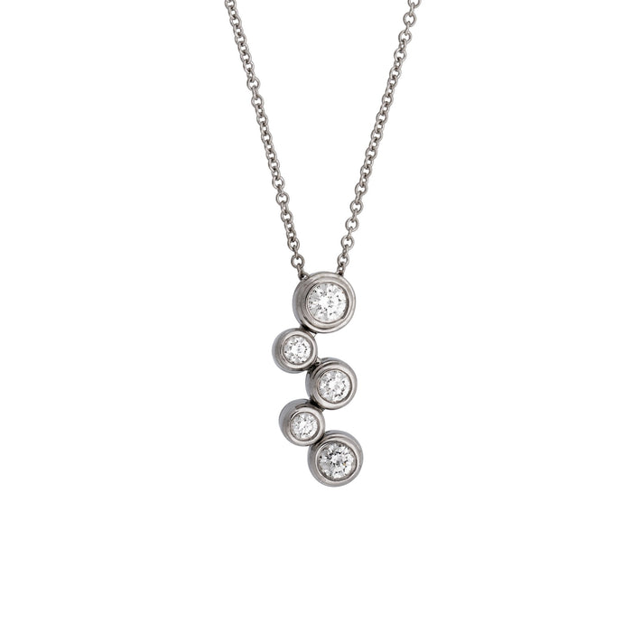 "Tiffany & Co. Platinum Diamond ""Bubble"" Pendant / Necklace Length: 16"""