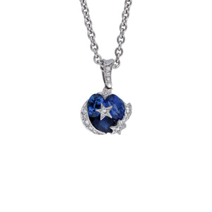 "Chanel 18K White Gold Blue Sapphire & Diamond ""Comete"" Pendant Length: 16"""