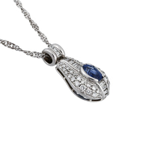 Estate Platinum Sapphire & Diamond Necklace Length: 16""