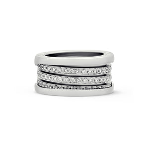 Bvlgari 18K White Gold B.Zero1 4 Band Diamond Ring Size: 6