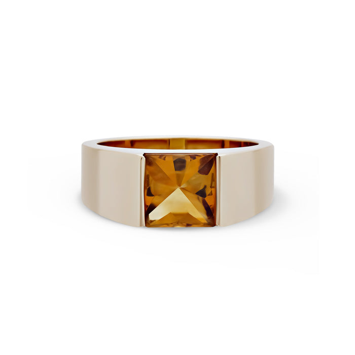 Cartier 18K Yellow Gold Citrine Tank Ring Size: 7.75 with Original Certificate Included