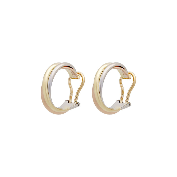 Cartier 18K Yellow, White & Rose Gold Trinity Clip On Earrings