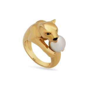 Cartier 18K Yellow Gold  Emerald Pearl Panther Ring Size: 5.25