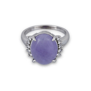 Tasaki Platinum Diamond Lavender Ring Size: 6