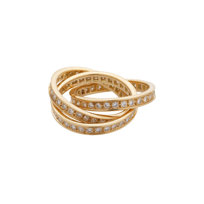 Cartier 18K Yellow Gold Trinity Diamond Ring Size: 5.25