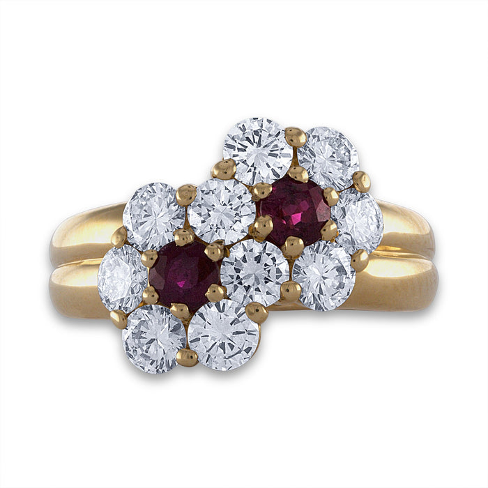 Mauboussin 18K Yellow Gold Ruby & Diamond Ring Size: 5.75