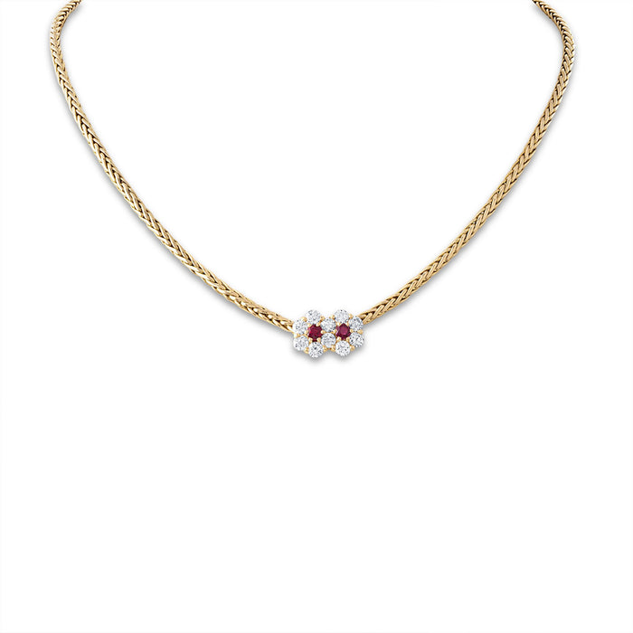 Mauboussin 18K Yellow Gold Ruby Diamond Flower Necklace