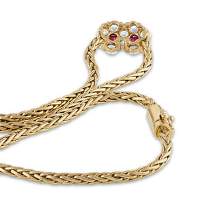 Mauboussin 18K Yellow Gold Ruby Diamond Flower Necklace Length: 16.5""