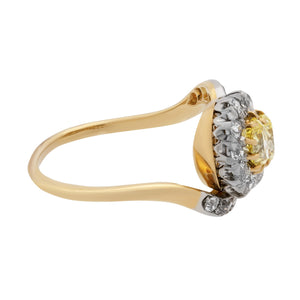 Estate 14K Yellow Gold GIA CERTIFIED Fancy Intense Yellow Vintage Ring Size: 7