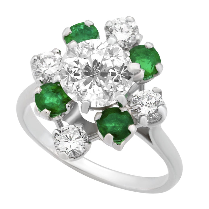 Mellerio Platinum Diamond and Emerald Ring