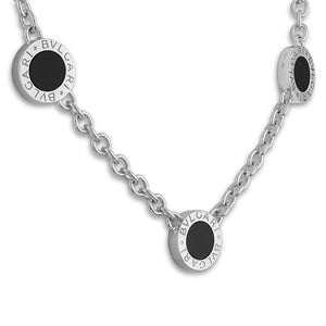 Bvlgari 18K White Gold And Onyx 3 Circle Station Chain Necklace Length: 16""