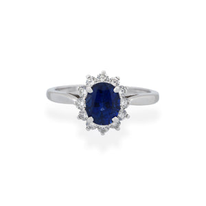 Tiffany & Co. Platinum Sapphire Diamond Ring Size: 6