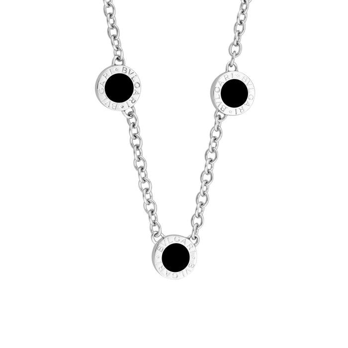 Bvlgari 18K White Gold Diamond and Onyx 3 Circle Station Necklace Length 15 inches
