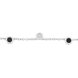 Bvlgari 18K White Gold Diamond and Onyx 3 Circle Station Necklace Length 15""