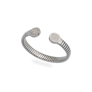 Bvlgari Stainless Steel Diamond Bracelet Length: 6""