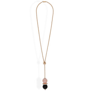 Cartier 18K Rose Gold Pink Opal, Onyx, and Diamond Evasions Joaillieres Lariat Necklace Length: 18""