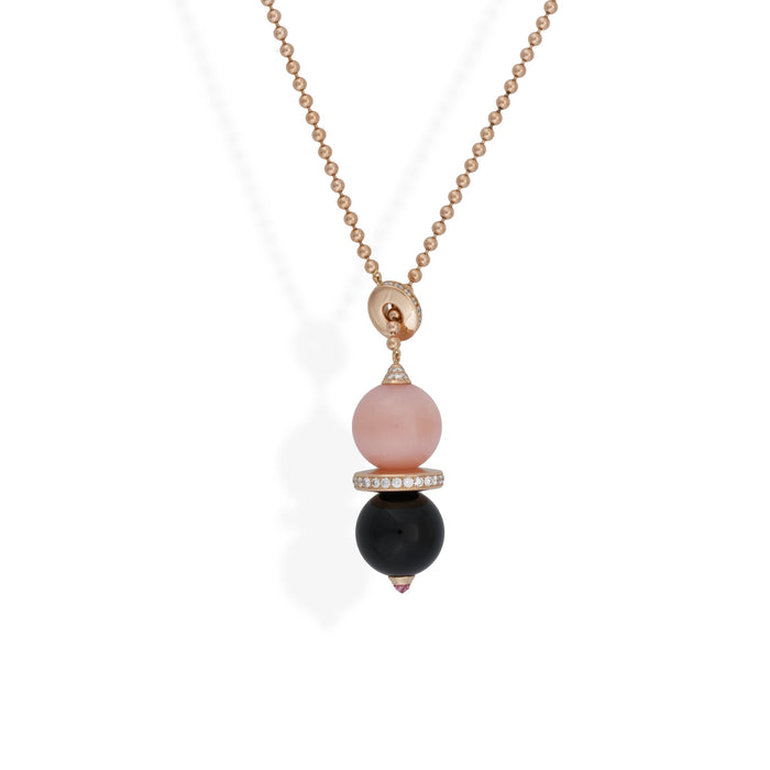 Cartier 18K Rose Gold Pink Opal, Onyx, and Diamond Evasions Joaillieres Lariat Necklace Length 18 inches