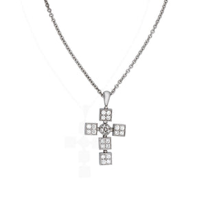 Bvlgari 18K White Gold Diamond Cross Pendant Necklace Length 16""