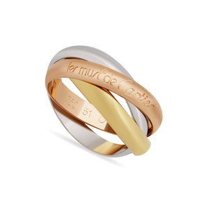 Cartier 18K White , Yellow , Rose Gold Trinity Ring Size 5.75